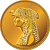 Egyptian gold coin with queen Cleopatra