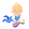 Vector clipart: baby learns to crawl