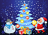 Vector clipart: happy Santa Claus and snowman decorate the Christmas tree