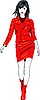 Vector clipart: fashion Asian girl in red leather suit