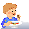 Vector clipart: baby boy eats with spoon from bowl