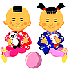 Vector clipart: Chinese baby boy and girl play with panda toy