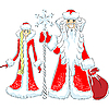 happy Father Frost and Snow Maiden
