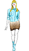 Vector clipart: fashion blond girl in blue and brown leather suit