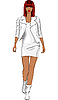 Vector clipart: fashion black girl in white leather suit