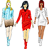 Vector clipart: fashion girls in the leather suits