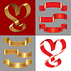 Vector clipart: set of the shiny gold and red ribbons
