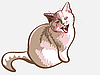 Vector clipart: lilac cat meows dissatisfied
