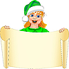 Vector clipart: funny Christmas elf with paper scroll