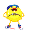 cartoon round smiling yellow monster