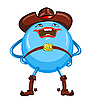 Vector clipart: cartoon round smiling blue cowboy