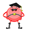 Vector clipart: cartoon round smiling red lawyer