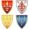 Vector clipart: French shields with the arms of fleur de lis