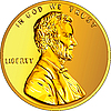 Vector clipart: American gold coin one cent