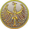 German gold coin with heraldic eagle