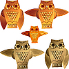 set of decorative owls