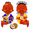 African kids with coconut and bananas | Stock Vector Graphics