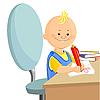 Векторный клипарт: мальчик рисует ручкой на листах бумаги