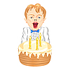 Boy with cake | Stock Vector Graphics