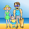 Vector clipart: young married couple with toddler at the sea