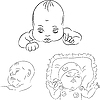 Vector clipart: set of the baby sketches
