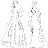 Vector clipart: Fashion Top Model in Evening Dresses