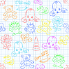 Vector clipart: seamless background with babies and toys