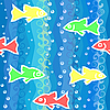 Vector clipart: seamless background with waves and colorful fish