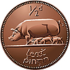 Irish halfpenny coin with pigs | Stock Vector Graphics