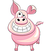 Vector clipart: funny cartoon happy pig