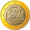 Greek coin one euro featuring owl