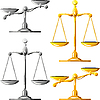 Vector clipart: set of gold and silver scales of justice