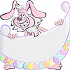 Vector clipart: Cartoon Pink Easter Rabbit holding poster