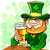 Vector clipart: Leprechaun drinks beer