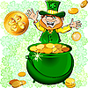 Vector clipart: Leprechaun with pot full of gold