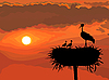 Vector clipart: Stork with chicks