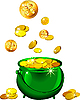 St. Patrick`s Day - green pot with gold coins | Stock Vector Graphics