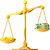 Векторный клипарт: несбалансированное масштабе золота с монетами и банкнотами
