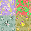 Vector clipart: set seamless pattern lotus