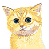 Vector clipart: sketch cute lilac British kitten