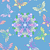 Vector clipart: seamless floral lace with butterflies