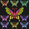 Vector clipart: set colorful butterflies