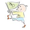 Vector clipart: cartoon man carries flag with dollar sign