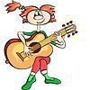 cartoon girl playing the guitar