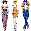 Vector clipart: fashion top models in trouser suits and hats