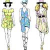 Vector clipart: set fashion top models in summer dresses and hats