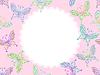 Векторный клипарт: розовые цветочные кадр кружева с бабочками