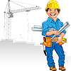 cheerful engineer builder in yellow helmet