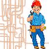 cheerful locksmith plumber in red helmet