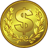 Vector clipart: gold Money Dollar coin